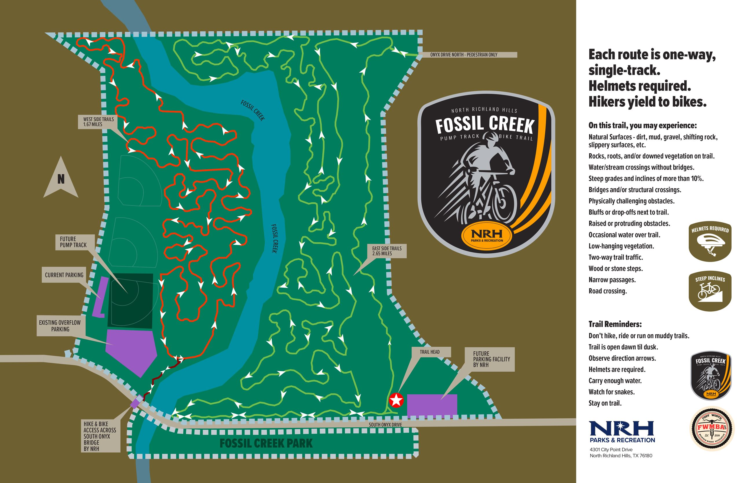 Fossil Creek Bike Park Map Simplified